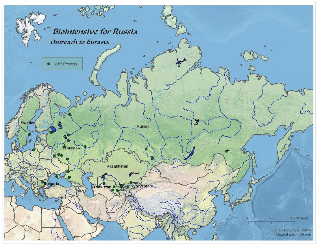 Cities in Russia and Uzbekistan where we have held GROW BIOINTENSIVE workshops